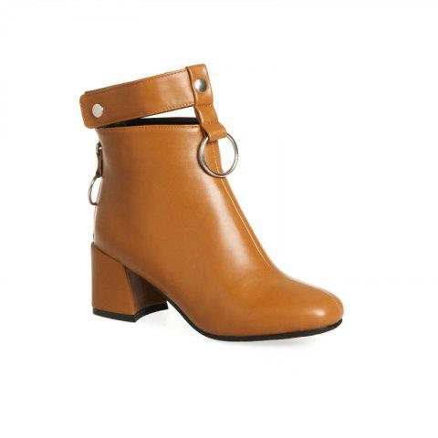 Shops The Square Head Thick Heel with The Vogue Hollowout Short Boots