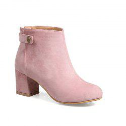 Round Head Thick Heel and Simple Naked Boots -