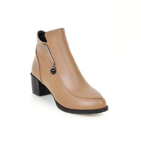 Chic Round with All-Match Bare Boots with Thick