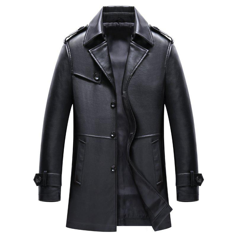Men S Autumn and Winter Suits Collar PU Leather Long Business Casual Fashion Jacket 239123806