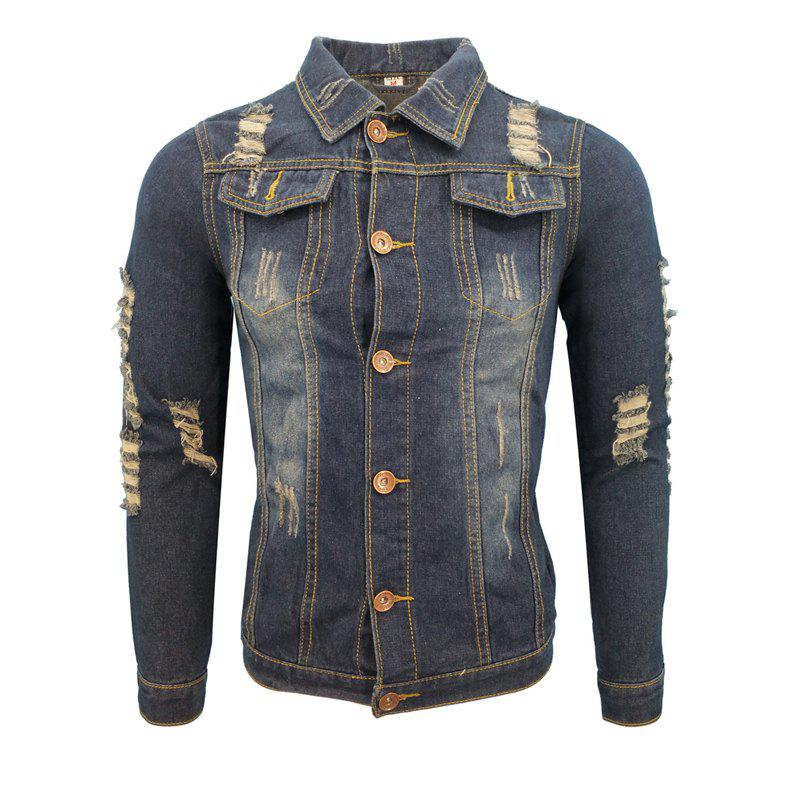 048d44dfeee36 Best Autumn and Winter Men and Women in Europe Washed Holes Casual Fashion  Lapel Jacket Denim
