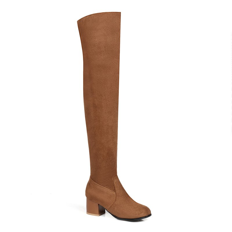 Trendy Long Canister Boots Casual Knee Chunky High-Heeled Black Brown