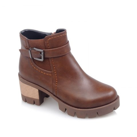 Unique Round Head Thick Heel Short Boots with Buckle