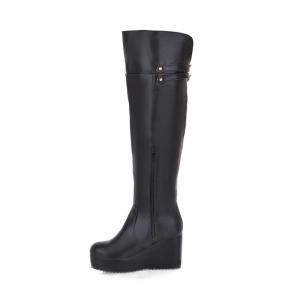 Round Head Slope with High-Heeled Fashion Knee Boots -