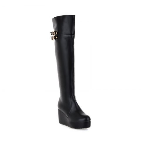 Affordable Round Head Slope with High-Heeled Fashion Knee Boots