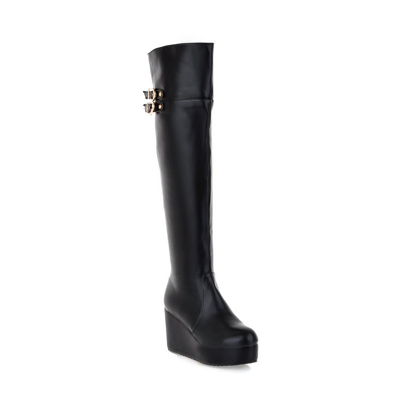 Latest Round Head Slope with High-Heeled Fashion Knee Boots