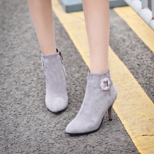Sharp Pointed with High-Heeled Sexy Diamond Bare Boots -