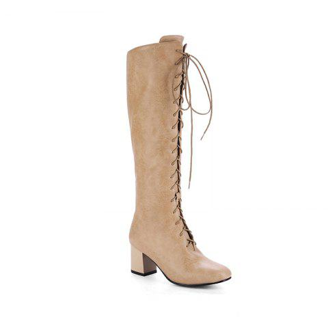 Fashion Square Head with The Rough and Vintage Lace-Up Boots