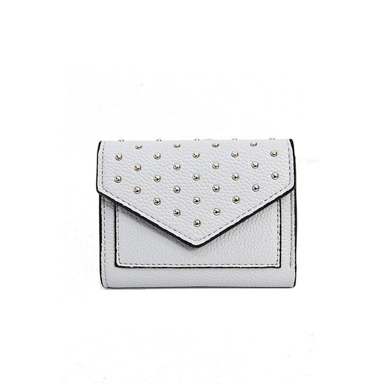 Discount Purse Female New Personality Rivets Short Wallet Fashion Leather Clip Multi-Card Bit Card Package