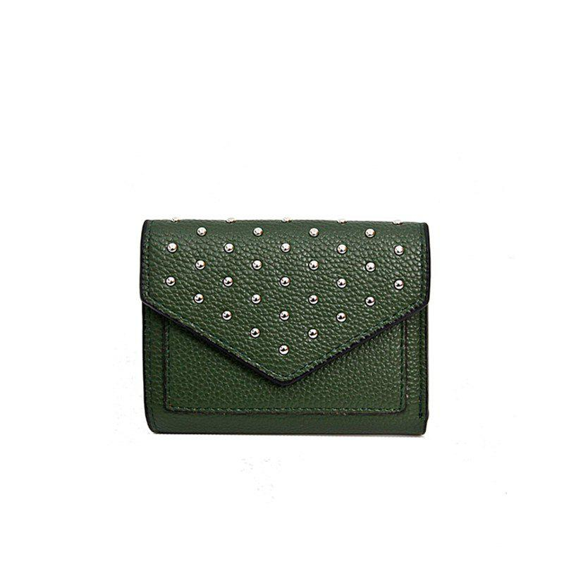 Online Purse Female New Personality Rivets Short Wallet Fashion Leather Clip Multi-Card Bit Card Package