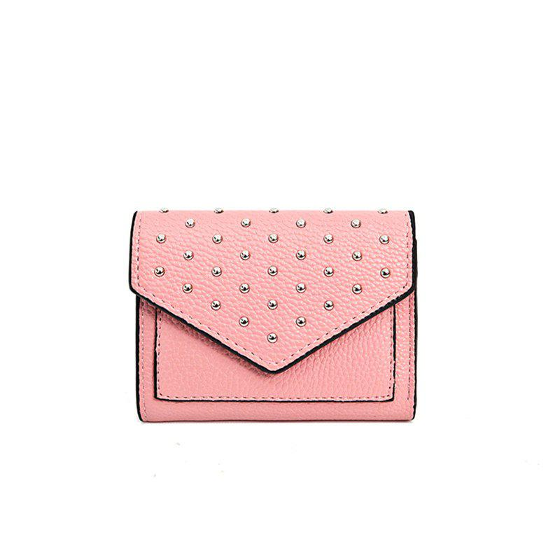 Fancy Purse Female New Personality Rivets Short Wallet Fashion Leather Clip Multi-Card Bit Card Package