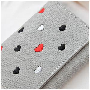 Simple New Embroidery Peach Heart Short Paragraph Small Fresh Fashion Folding Student Wallet -