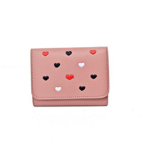 Shop Simple New Embroidery Peach Heart Short Paragraph Small Fresh Fashion Folding Student Wallet