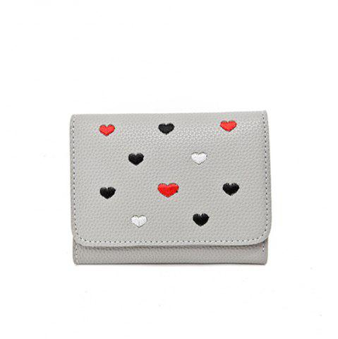 Latest Simple New Embroidery Peach Heart Short Paragraph Small Fresh Fashion Folding Student Wallet