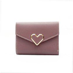 Fresh Metal Heart-Shaped Short Women Three Fold Small Wallet -