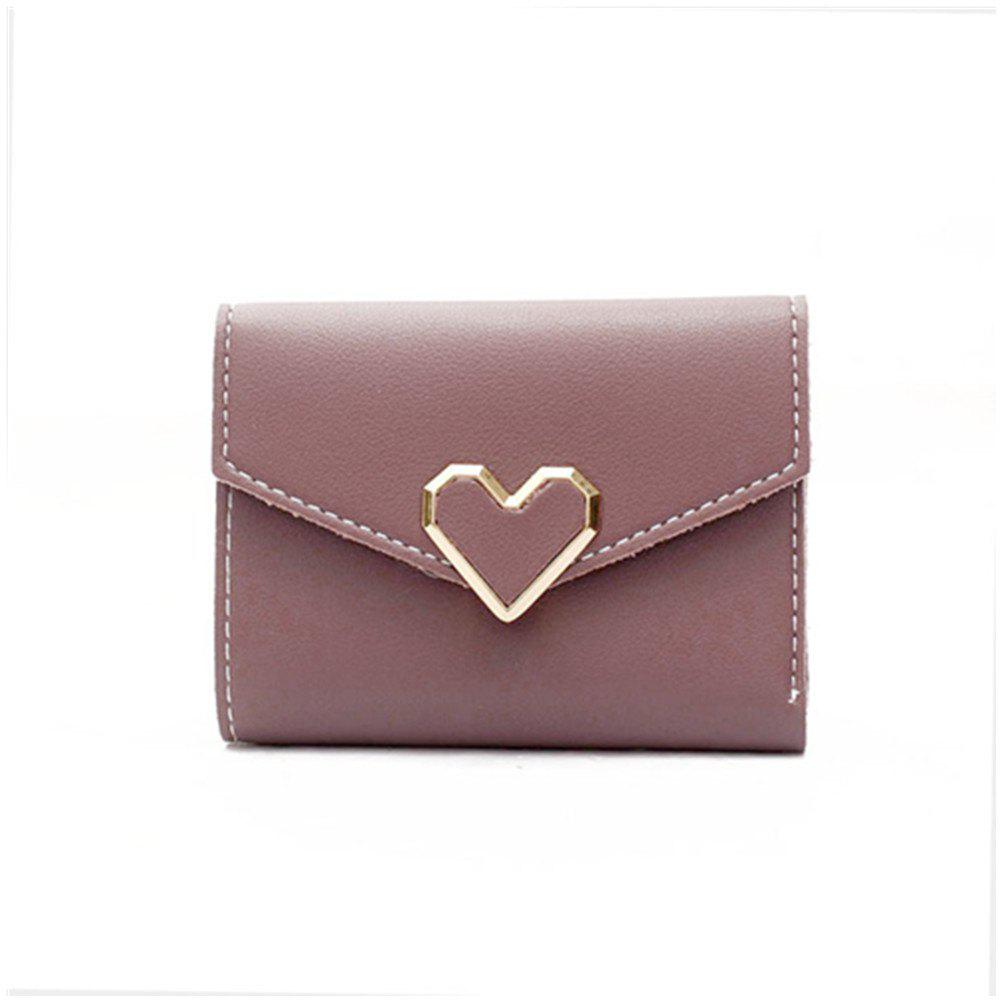 Buy Fresh Metal Heart-Shaped Short Women Three Fold Small Wallet