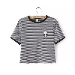 Round Neck Short Sleeve Alien Embroidery T-Shirt -