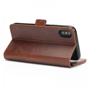 High Grade Crazy Horse Double Fold Leather Case for iPhone X -