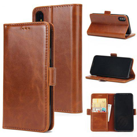 Outfit High Grade Crazy Horse Double Fold Leather Case for iPhone X