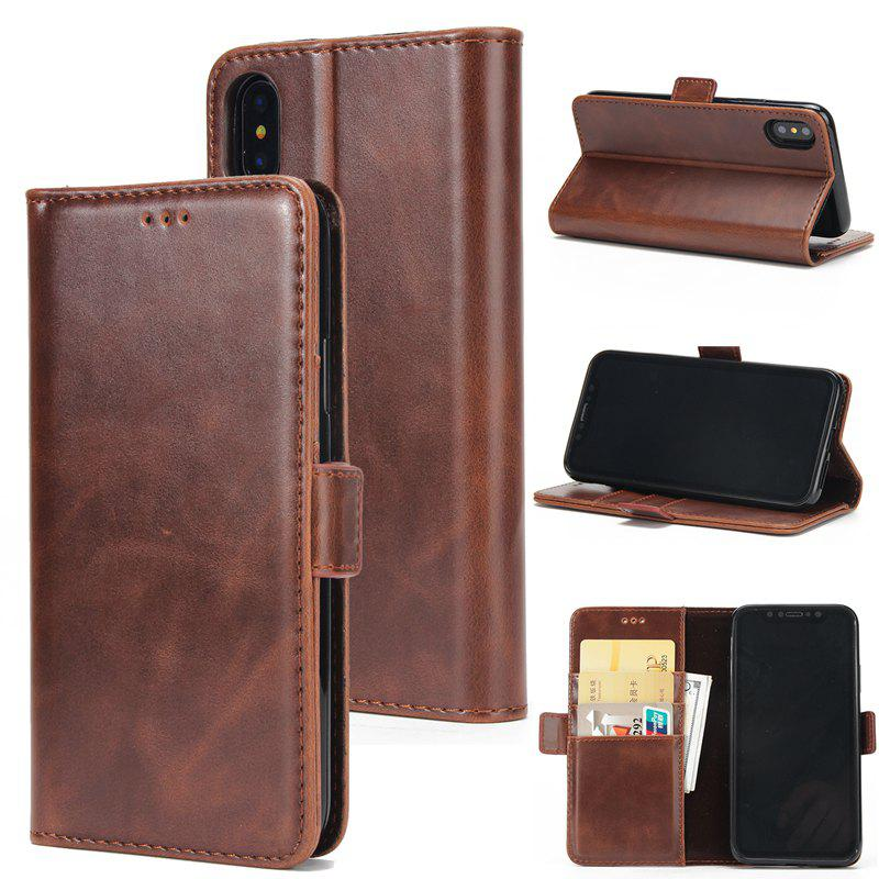 New High Grade Crazy Horse Double Fold Leather Case for iPhone X