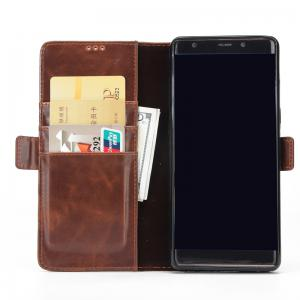 High Grade Crazy Horse Double Fold Leather Case for Samsung Galaxy Note 8 -