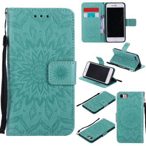 Chic Sunflower Embossed Wallet Flip PU Leather Card Holder Standing Phone Case for iPhone 7 / 8