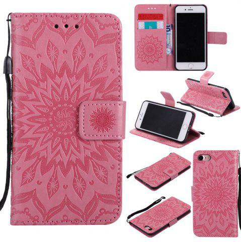 Best Sunflower Embossed Wallet Flip PU Leather Card Holder Standing Phone Case for iPhone 7 / 8