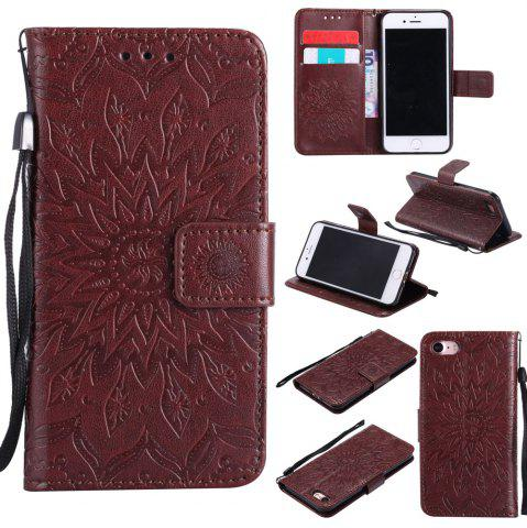 Shop Sunflower Embossed Wallet Flip PU Leather Card Holder Standing Phone Case for iPhone 7 / 8