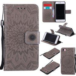 Sunflower Embossed Wallet Flip PU Leather Card Holder Standing Phone Case for iPhone 7 / 8 -