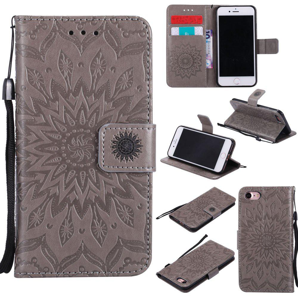 Outfit Sunflower Embossed Wallet Flip PU Leather Card Holder Standing Phone Case for iPhone 7 / 8