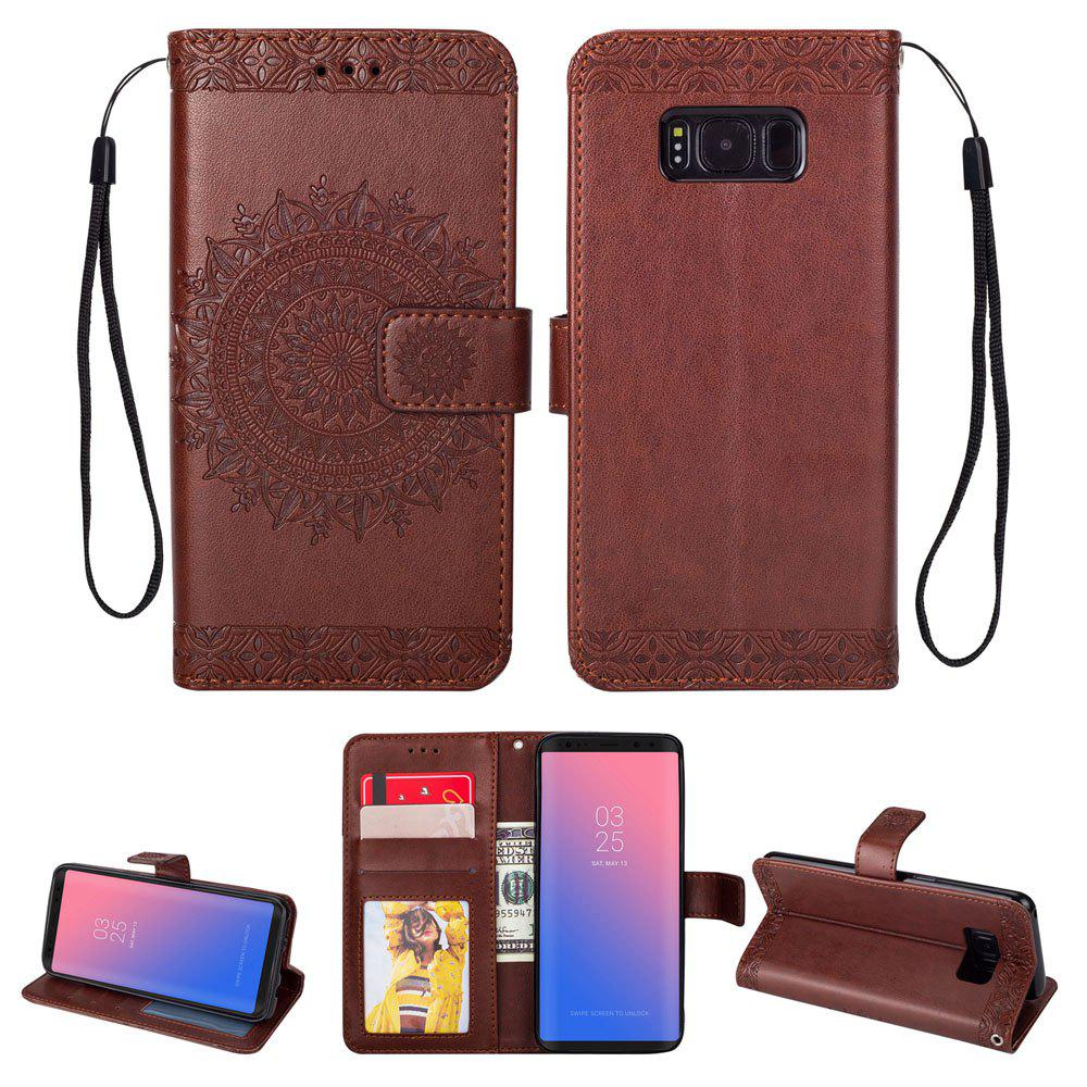 Trendy Embossed Wallet Flip PU Leather Card Holder Standing Phone Case for Samsung Galaxy S8 Plus