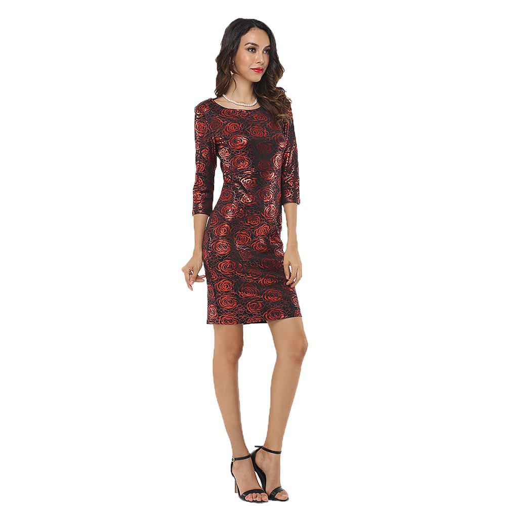 Women Fashion Autumn Elegant Gold Office Printed Rose Flower O-Neck Slim  Bodycon Party Plus Size Dress