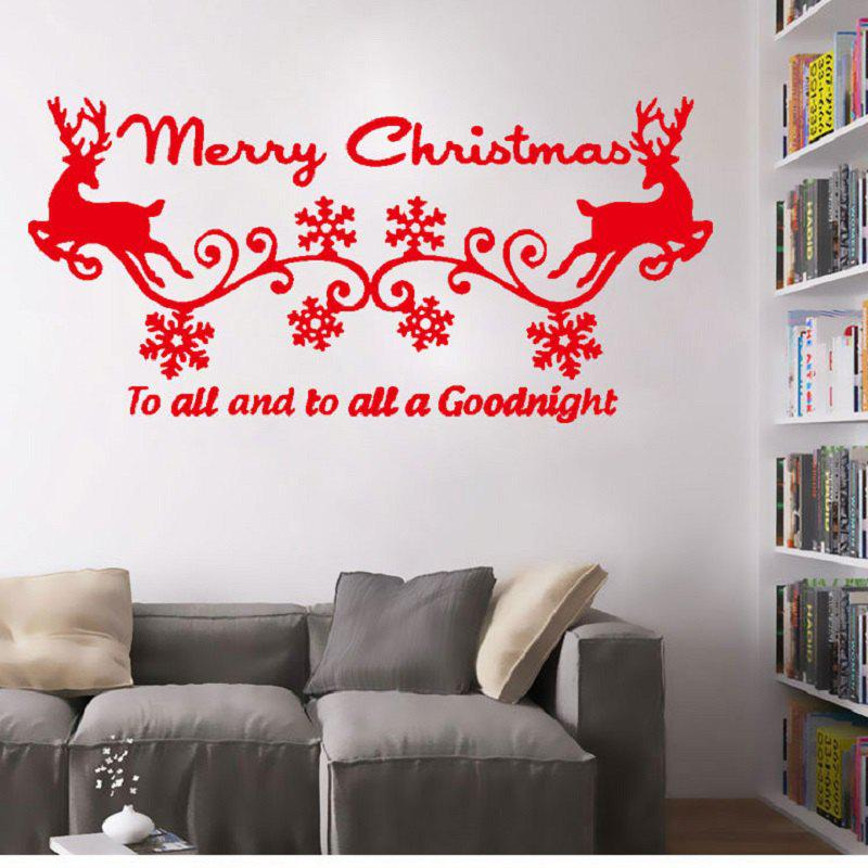 Christmas Two Deers Snow Vinyl Wall Stickers Piece Merry Christmas Quote Decals