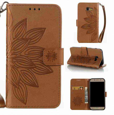 Affordable Double Embossed Half Flower PU TPU Phone Case for Samsung Galaxy A5 2017