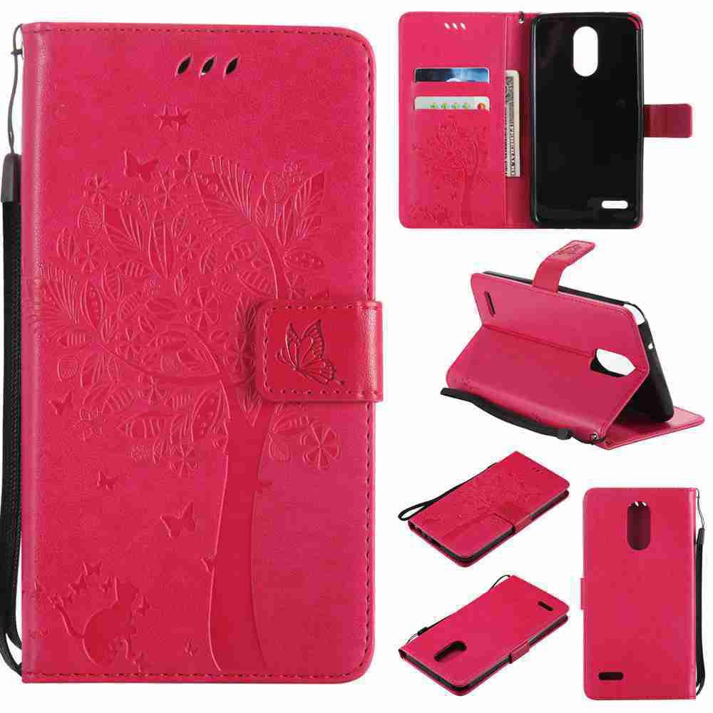 Outfits Double Embossed Sun Flower PU TPU Phone Case for  LG  Stylus3 Plus / Stylus3 / Style  Plus