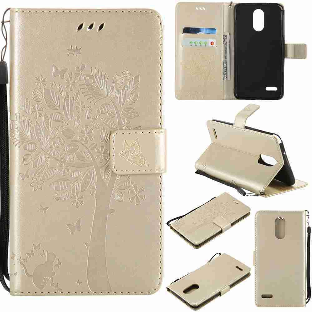 Sale Double Embossed Sun Flower PU TPU Phone Case for  LG  Stylus3 Plus / Stylus3 / Style  Plus