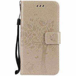 Double Embossed Sun Flower PU TPU Phone Case for  Samsung Galaxy  A5 2017 -