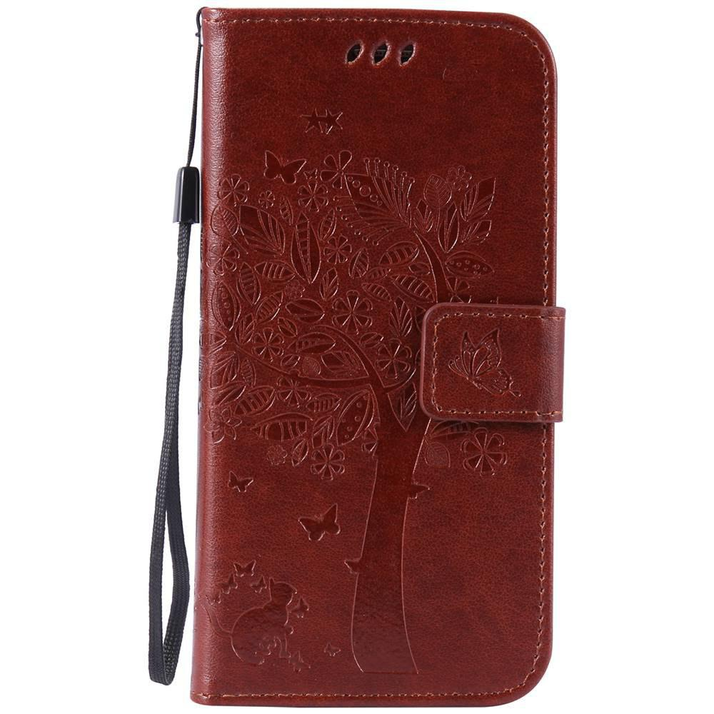 Trendy Double Embossed Sun Flower PU TPU Phone Case for  Samsung Galaxy S7