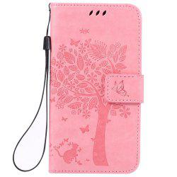 Double Embossed Sun Flower PU TPU Phone Case for  Samsung Galaxy  J3 / 310 -