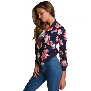 2017 New Long Sleeve Fashion Floral Jacket -