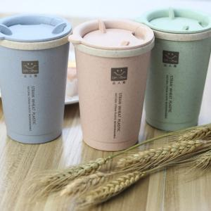 DIHE Wheat Straw Double Deck Open Cup Convenient Cute Heat Preservation -