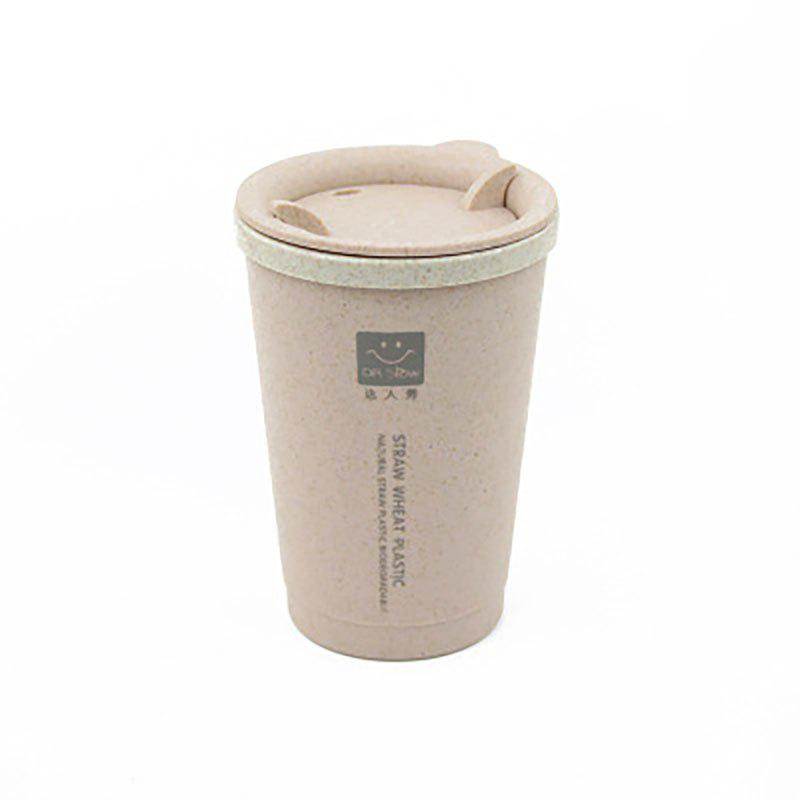 Chic DIHE Wheat Straw Double Deck Open Cup Convenient Cute Heat Preservation