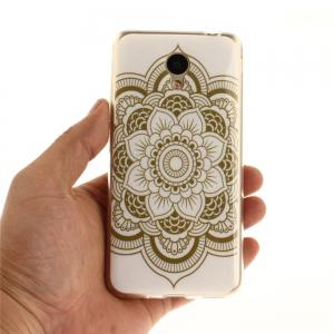 Big Flower Soft Clear IMD TPU Phone Casing Mobile Smartphone Cover Shell Case for Meizu M5c / 5C / A5 Charm Blue A5 -