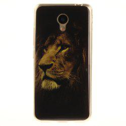 The Lion Pattern Soft Clear IMD TPU Phone Casing Mobile Smartphone Cover Shell Case for Meizu M5c / 5C / A5 -