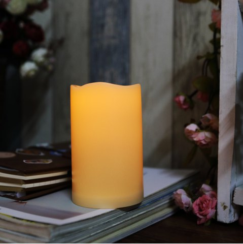 Shops Outdoor Flameless Candle with Timer Plastic Realistic Flickering Battery Operated