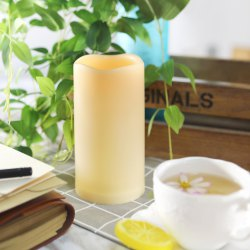 Outdoor Flameless Candle with Timer Plastic Realistic Flickering Bright LED Pillar Long Battery Life -