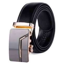 Men's Fashion Solid Buckle with Automatic Ratchet Leather Belt -