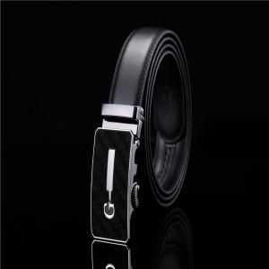 Men's Simple Solid Buckle with Automatic Ratchet Leather Belt -