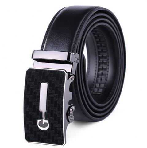 Fancy Men's Simple Solid Buckle with Automatic Ratchet Leather Belt