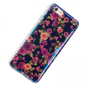 Blue Glitter Rose Pattern Case for iPhone 6 Plus -